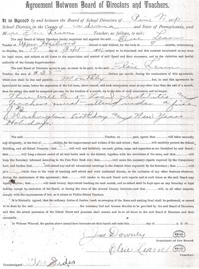 "Contract signed by Elsie Learn in 1906 to teach at the ""Upper Heilwood"" school. Click to enlarge!"