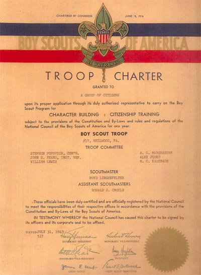 "Troop charter issued in 1947 by the Boy Scouts of America to ""a group of citizens"" in Heilwood."