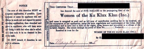 Women of the Ku Klux Klan donation receipt.