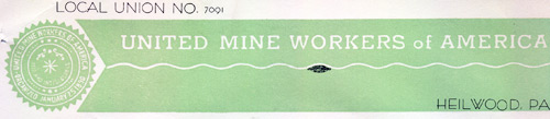 Heilwood Union #7091 of the UMWA letterhead (1941)
