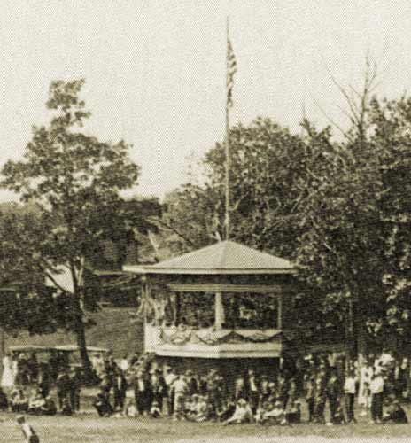 The band stand, circa 1920 (note the steps on the left side of the photo)