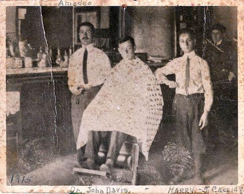 Heilwood Barber Shop interior, circa 1915