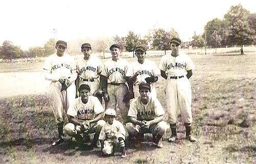 "Part of the 1939 Heilwood baseball team: (standing L-to-R) John ""Hoot"" Holuta; ""Wimpi"" Corsini; Frank Stupic; Frank Salley; Mike Gaydosh; and (sitting L-to-R) Pete Yanek; bat boy Frank Holuta; John Mance"