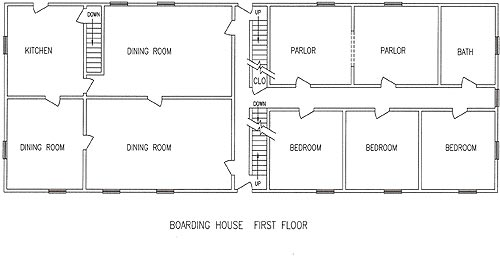 Floorplan for the first story of Boarding House #1.