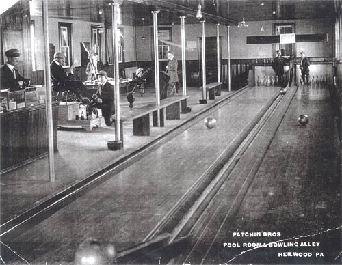 Interior of the town hall, showing the pool room and bowling alley.