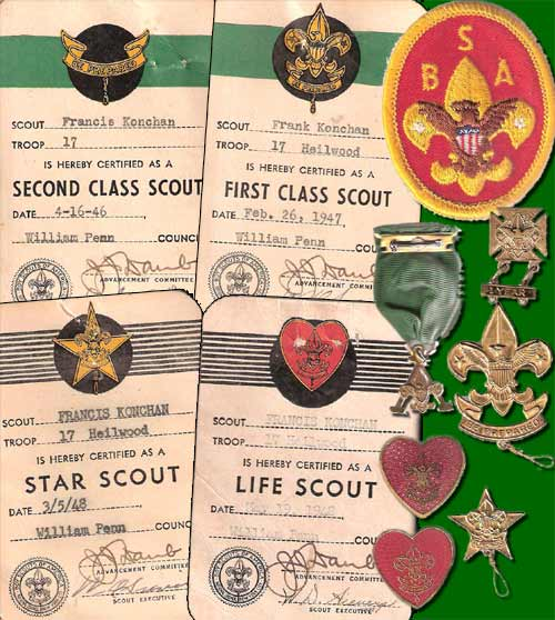Various Boy Scout awards and rankings that Frank Konchan earned while a member of the Heilwood troop