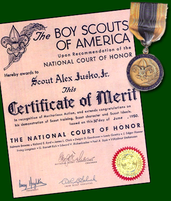 Certificate of Merit awarded to Alex Jusko and Metal of Merit awarded to Francis Konchan (June 1950)