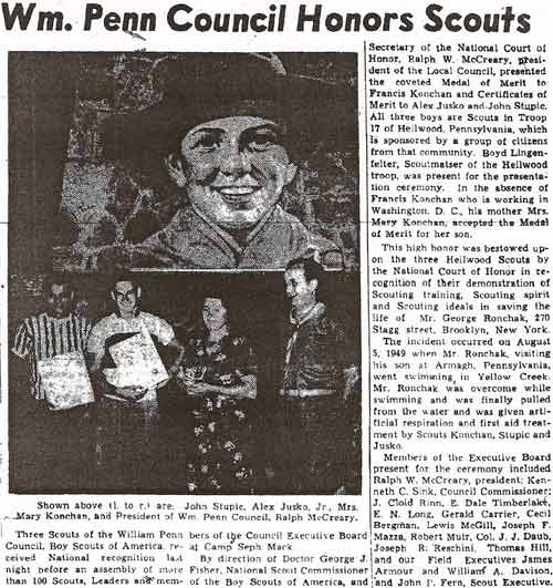 July 1950 newspaper account of how three members of Heilwood Troop #17 were recognized for saving the life of a swimmer in Yellow Creek