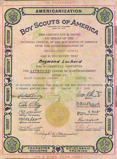 Certificate issued in 1931 to Raymond Lockard of Heilwood for completing the Leadership Training Course in Scoutmastership