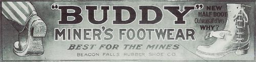 Advertisement for Buddy Mining Boots