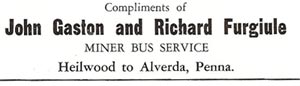 Bus service for the Heilwood miners (1945)