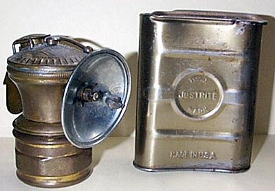 Carbide lamp and carbide storage tin used in Heilwood mines