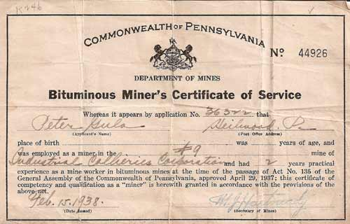 Miner's Certificate of Service (1938)