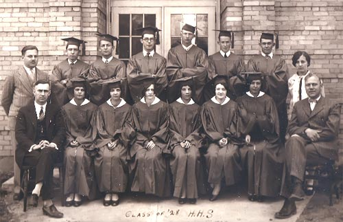 The first graduating class from the new high school building (1928).