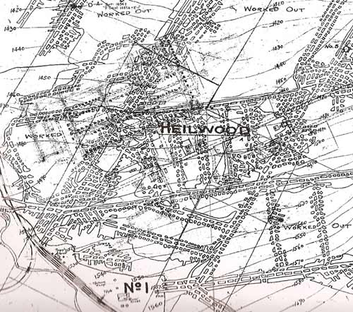 """Original mine map showing the location of the Possum Glory #1 Mine (labelled """"No 1""""), relative to the town of Heilwood."""