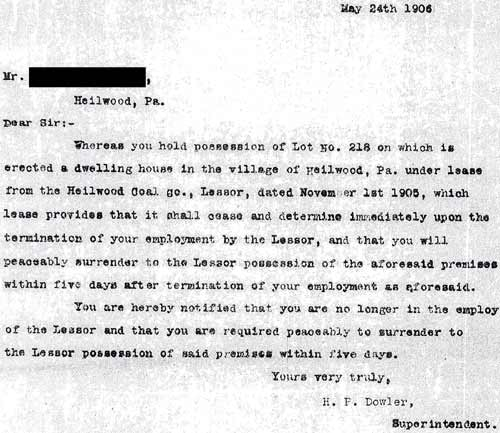 Eviction letter (May 24th, 1906)