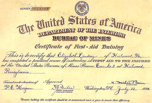 A first aid training certificate from the U.S. Bureau of Mines, Rescue Car #3.