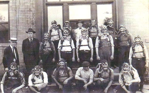 Heilwood Mine Rescue Team wearing Gibbs Breathing Apparatus, circa 1925.