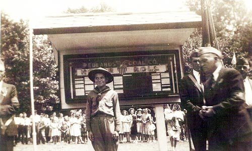July 8, 1942 photo from the dedication ceremony of the Heilwood Honor Roll.