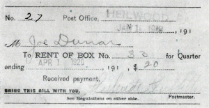 Heilwood post office box rent receipt. The Postmistress is Gertrude Griffith (1919)
