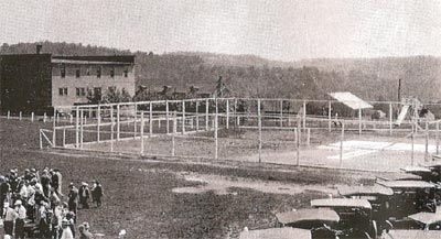 Heilwood tennis courts (the Company Store and Town Hall can be seen in the background)