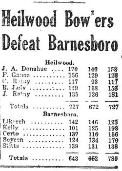 Bowling score from the April 28, 1930 issue of The Indiana Gazette.