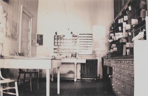 Inside the Heilwood Post Office, circa 1944.