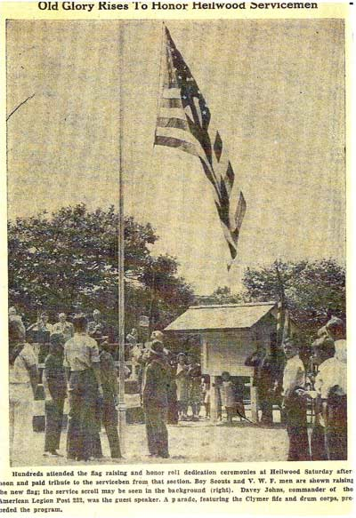 Newspaper account of the dedication of the Heilwood Honor Roll in 1942.