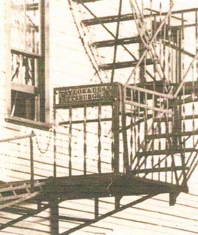 Close-up of the fire escape added in 1909, manufactured by Taylor & Dean of Pittsburgh.