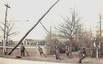 Installing an electrical pole (circa 1935)