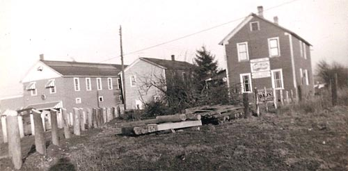 Photo taken in the 1950s showing three buildings in Jewtown (L-R): Groswald's, Ragosin's, and the Tirbassi house.