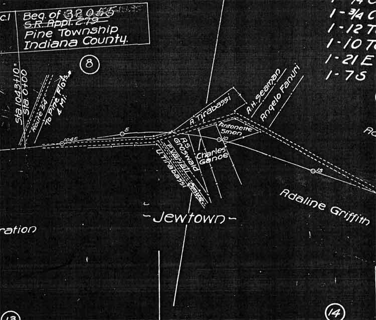 Jewtown map (circa 1928). The road to the left leads to Heilwood and the road to the right leads to Mentcle. The map also shows business and residential locations. Click to enlarge!