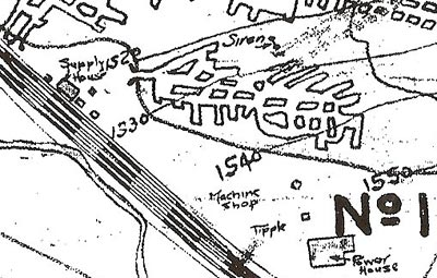"This later map shows the relatively small-scale development of the Klondike Mine (the mine opening is located to the right of the Supply House, next to the ""1520"" line)."