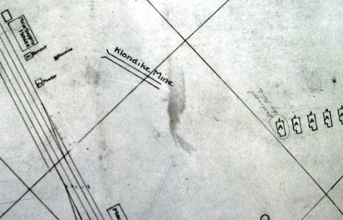 Map showing approximate location of the Klondike Mine (circa 1919)
