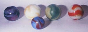 Shooter marbles compared to a regular one