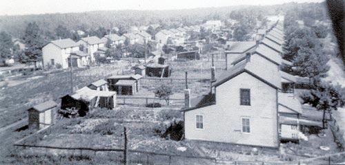 Miners' Homes circa 1943 - 1st Street to the right, 2nd Street to the left