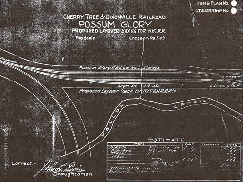 Possum Glory/Heilwood proposed layover siding for New York Central Railroad (NYCRR), 1909