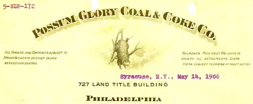 Possum Glory Coal & Coke Co. letterhead from 1906 (Courtesy of the Special Collections & University Archives at Indiana University of Pennsylvania)