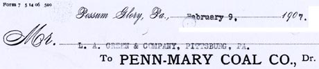 A 1907 memo sent from Possum Glory, Pa.