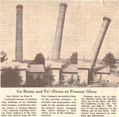 Newspaper articles from September 1941 illustrate the day the power house chimney came down.