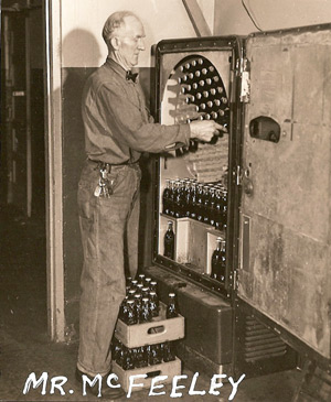 Pine Township High School janitor Red McFeeley, loading up the pop machine.
