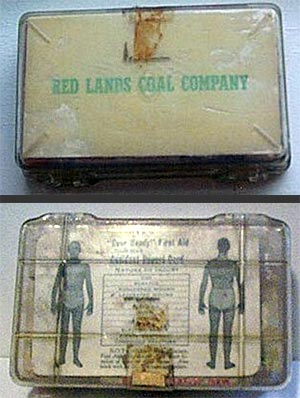 First aid kit supplied by the Redlands Coal Company, probably for home or automobile use.