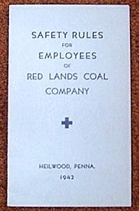 Safety manuals from the Redlands Coal Company (top, 1942) and Pine Township Coal Company (bottom, 1956)