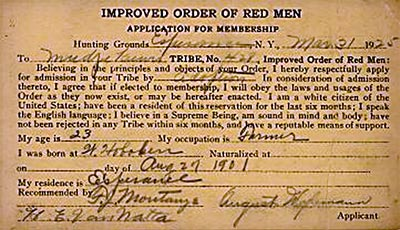 An application for membership in the Improved Order of Red Men.