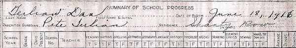 "1916 Heilwood School record indicating that the student was living in ""Shanty Row""."