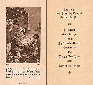 A Christmas greeting card given out by Reverend Charles Black, sometime between 1919 and 1930.