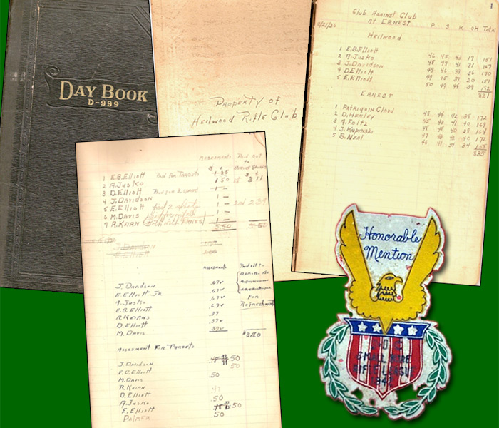 Above: Journal of the Heilwood Rifle Club from 1936, which contains actual dual meet scores, practice shooting results, and assessments/dues for individual club members. Also included (on the bottom right) is a Heilwood Rifle Club award.