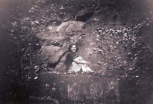 Ann Balog, sitting on the Two Pipes Rocks (circa 1942)