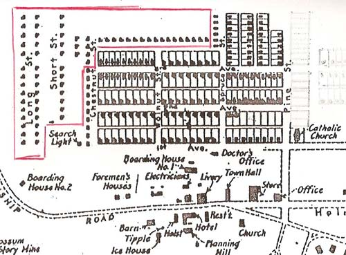 A map showing the location of the shanties (outlined in red) in relation to the rest of the town.