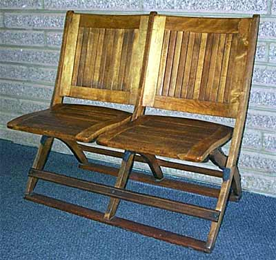These folding chairs were probably purchased from the Heywood Brothers & Wakefield Company of Philadelphia in the summer of 1907. They were utilized on the second floor as portable seating for town meetings, as well as school and other community activities. When the Town Hall was closed around 1940, some of these folding chairs were obtained by the St. Peter's & Paul Greek Catholic Church and used there until the church was closed.